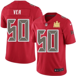 Men Nike Tampa Bay Buccaneers 50 Vita Vea Red Men Super Bowl LV Champions Patch Stitched NFL Limited Rush Jersey