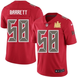 Men Nike Tampa Bay Buccaneers 58 Shaquil Barrett Red Men Super Bowl LV Champions Patch Stitched NFL Limited Rush Jersey