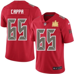 Men Nike Tampa Bay Buccaneers 65 Alex Cappa Red Men Super Bowl LV Champions Patch Stitched NFL Limited Rush Jersey