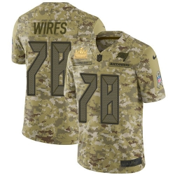 Men Nike Tampa Bay Buccaneers 78 Tristan Wirfs Camo Men Super Bowl LV Champions Patch Stitched NFL Limited 2018 Salute To Service Jersey