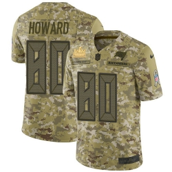 Men Nike Tampa Bay Buccaneers 80 O  J  Howard Camo Men Super Bowl LV Champions Patch Stitched NFL Limited 2018 Salute To Service Jersey