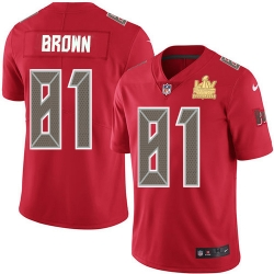 Men Nike Tampa Bay Buccaneers 81 Antonio Brown Red Men Super Bowl LV Champions Patch Stitched NFL Limited Rush Jersey