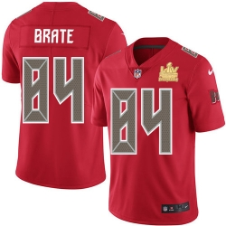 Men Nike Tampa Bay Buccaneers 84 Cameron Brate Red Men Super Bowl LV Champions Patch Stitched NFL Limited Rush Jersey