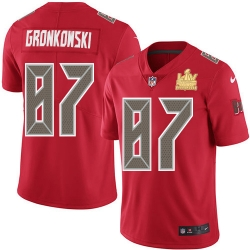 Men Nike Tampa Bay Buccaneers 87 Rob Gronkowski Red Men Super Bowl LV Champions Patch Stitched NFL Limited Rush Jersey