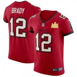 Men Tampa Bay Buccaneers 12 Tom Brady Men Super Bowl LV Champions Patch Nike Red Vapor Elite Jersey