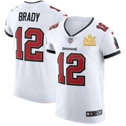 Men Tampa Bay Buccaneers 12 Tom Brady Men Super Bowl LV Champions Patch Nike White Vapor Elite Jersey
