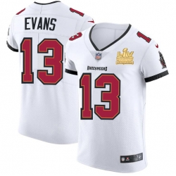Men Tampa Bay Buccaneers 13 Mike Evans Men Super Bowl LV Champions Patch Nike White Vapor Elite Jersey