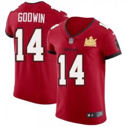 Men Tampa Bay Buccaneers 14 Chris Godwin Men Super Bowl LV Champions Patch Nike Red Vapor Elite Jersey
