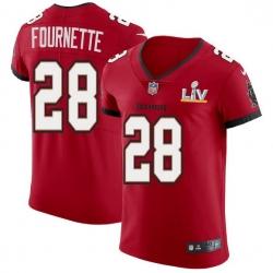 Men Tampa Bay Buccaneers 28 Leonard Fournette Men Super Bowl LV Bound Nike Red Vapor Elite Jersey