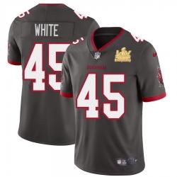 Men Tampa Bay Buccaneers 45 Devin White Men Super Bowl LV Champions Patch Nike Pewter Alternate Vapor Limited Jersey