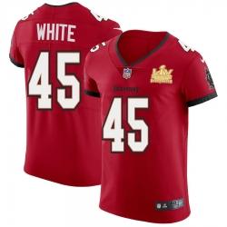 Men Tampa Bay Buccaneers 45 Devin White Men Super Bowl LV Champions Patch Nike Red Vapor Elite Jersey