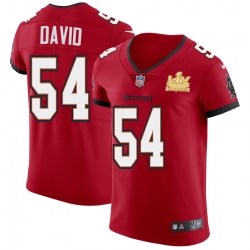 Men Tampa Bay Buccaneers 54 Lavonte David Men Super Bowl LV Champions Patch Nike Red Vapor Elite Jersey