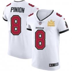 Men Tampa Bay Buccaneers 8 Bradley Pinion Men Super Bowl LV Champions Patch Nike White Vapor Elite Jersey