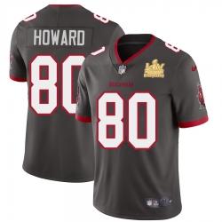 Men Tampa Bay Buccaneers 80 O  J  Howard Men Super Bowl LV Champions Patch Nike Pewter Alternate Vapor Limited Jersey