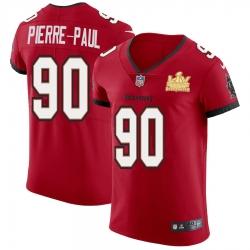 Men Tampa Bay Buccaneers 90 Jason Pierre Paul Men Super Bowl LV Champions Patch Nike Red Vapor Elite Jersey