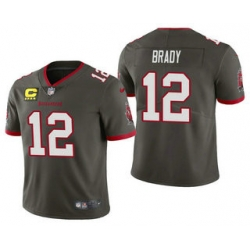 Men Tom Brady Tampa Bay Buccaneers Pewter Captain Patch Vapor Limited Jersey