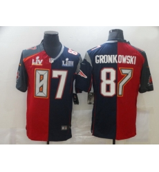 Men Nike Tampa Bay Buccaneers  26 New England Patriots 87 Rob Gronkowski Men Red Navy Blue Limited NFL 2020 2021 super bowl Jersey