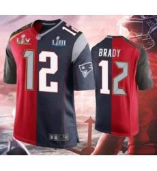 Men's Tom Brady Buccaneers Patriots Splite 2021 Super Bowl Jersey