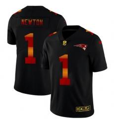 New England Patriots 1 Cam Newton Men Black Nike Red Orange Stripe Vapor Limited NFL Jersey