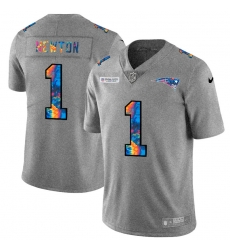New England Patriots 1 Cam Newton Men Nike Multi Color 2020 NFL Crucial Catch NFL Jersey Greyheather
