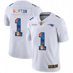 New England Patriots 1 Cam Newton Men White Nike Multi Color 2020 NFL Crucial Catch Limited NFL Jersey