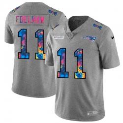 New England Patriots 11 Julian Edelman Men Nike Multi Color 2020 NFL Crucial Catch NFL Jersey Greyheather