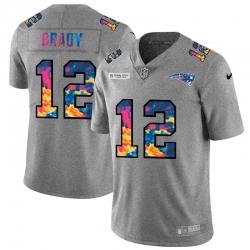 New England Patriots 12 Tom Brady Men Nike Multi Color 2020 NFL Crucial Catch NFL Jersey Greyheather