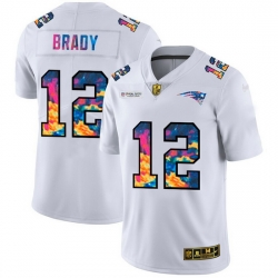 New England Patriots 12 Tom Brady Men White Nike Multi Color 2020 NFL Crucial Catch Limited NFL Jersey