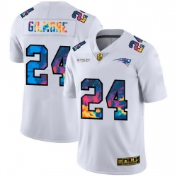 New England Patriots 24 Stephon Gilmore Men White Nike Multi Color 2020 NFL Crucial Catch Limited NFL Jersey