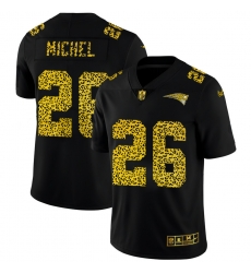 New England Patriots 26 Sony Michel Men Nike Leopard Print Fashion Vapor Limited NFL Jersey Black