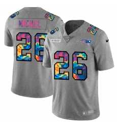 New England Patriots 26 Sony Michel Men Nike Multi Color 2020 NFL Crucial Catch NFL Jersey Greyheather