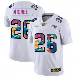 New England Patriots 26 Sony Michel Men White Nike Multi Color 2020 NFL Crucial Catch Limited NFL Jersey
