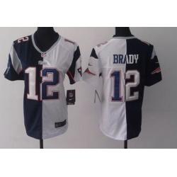 Women New England Patriots Tom Brady White Blue Split Limited Jersey