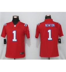 Women Nike New England Patriots 1 Cam Newton  Red Jersey