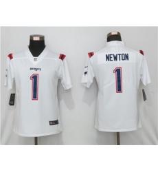 Women Nike New England Patriots 1 Cam Newton  White Jersey