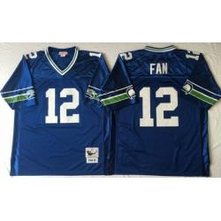 Men Seattle Seahawks 12 Fan Blue M&N Throwback Jersey