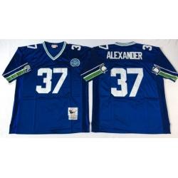 Men Seattle Seahawks 37 Shaun Alexander Blue M&N Throwback Jersey