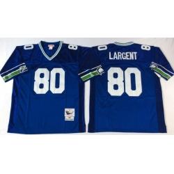 Men Seattle Seahawks 80 Steve Largent Blue M&N Throwback Jersey