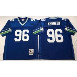 Men Seattle Seahawks 96 Cortez Kennedy Blue M&N Throwback Jersey