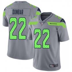 Nike Seahawks 22 Quinton Dunbar Gray Men Stitched NFL Limited Inverted Legend Jersey