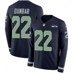 Nike Seahawks 22 Quinton Dunbar Steel Blue Team Color Men Stitched NFL Limited Therma Long Sleeve Jersey