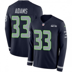 Nike Seahawks 33 Jamal Adams Steel Blue Team Color Men Stitched NFL Limited Therma Long Sleeve Jersey