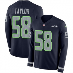 Nike Seahawks 58 Darrell Taylor Steel Blue Team Color Men Stitched NFL Limited Therma Long Sleeve Jersey