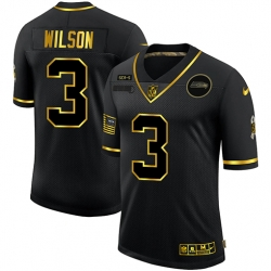 Nike Seattle Seahawks 3 Russell Wilson Black Gold 2020 Salute To Service Limited Jersey