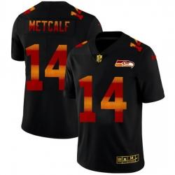 Seattle Seahawks 14 DK Metcalf Men Black Nike Red Orange Stripe Vapor Limited NFL Jersey