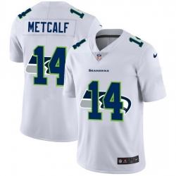 Seattle Seahawks 14 DK Metcalf White Men Nike Team Logo Dual Overlap Limited NFL Jersey