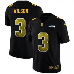 Seattle Seahawks 3 Russell Wilson Men Black Nike Golden Sequin Vapor Limited NFL Jersey