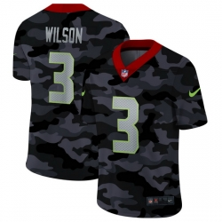 Seattle Seahawks 3 Russell Wilson Men Nike 2020 Black CAMO Vapor Untouchable Limited Stitched NFL Jersey