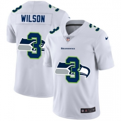 Seattle Seahawks 3 Russell Wilson White Men Nike Team Logo Dual Overlap Limited NFL Jersey