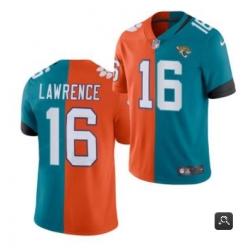 Men Jacksonville Jaguars #16 Trevor Lawrence 2021 Teal Orange Draft Split Vapor Limited Stitched NFl Jersey